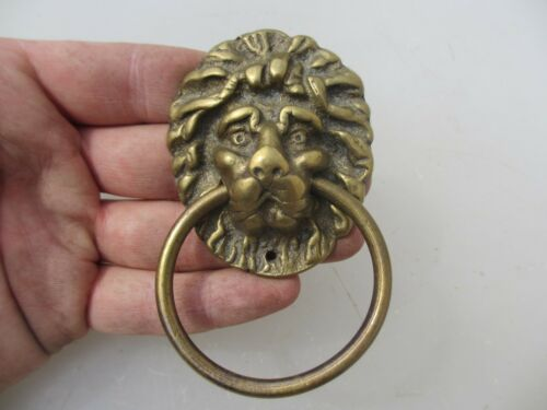 Vintage Brass Lion Chest Pull Drawer Handle Lions Loop Antique Old Hardware