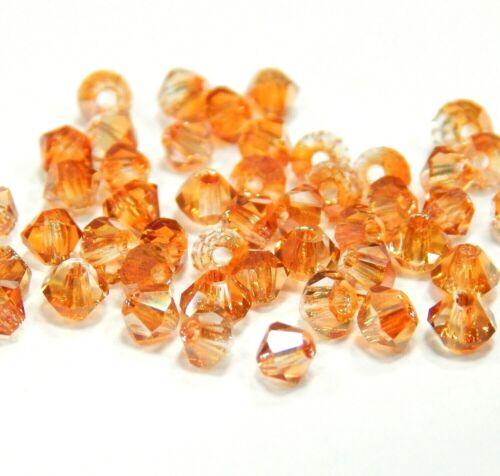 50 Séquoia Perles De Verre 3 mm Topaze Or AB rodé Cristal Bijoux Perles x8