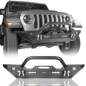 Front Bumper w/ Winch Plate & LED Lights &D-Rings for 07-20 Jeep Wrangler JK JL