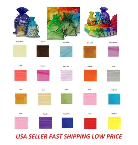 48/96/192/432 Drawstring Organza Bag Jewelry Pouch Wedding Party Favor Gift Bag