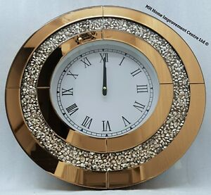 Diamond-Crush-Round-Wall-Clock-Bronze-Brown-Mirrored-Sparkly-Large-50x50cm