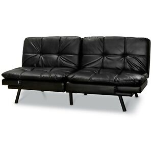 Details about Contemporary Black Faux Leather Convertible Memory Foam Futon  Sleeper Sofa NEW