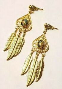 Gold-Tone-Tribal-Native-Feathers-Leaves-Multi-Blue-Dangle-Pierced-Leaf-Earrings