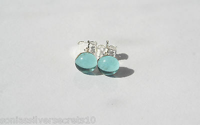 925 Sterling Silver Aquamarine Blue Cabochon Glass STUDS Earrings 6mm Round STUD