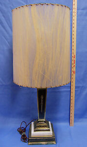 Vintage Table Lamp Black Stone Marble Base Brass Color