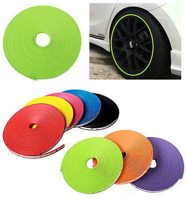 Car Tuning Vehicle Wheel Rims Protector Tire Guard Line Rubber Moulding Green