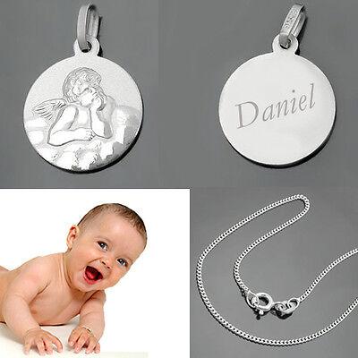 Baby Kinder Anhänger Schutzengel mit Gravur Name und 36 cm Kette Echt Silber 925
