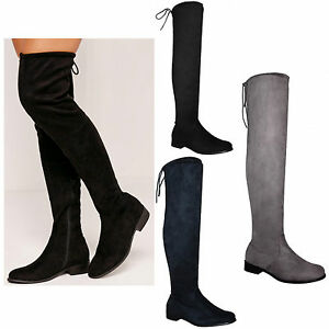 Womens-Ladies-Over-The-Knee-Thigh-High-Flat-Block-Heel-Stretch-Boots-Shoes-Size