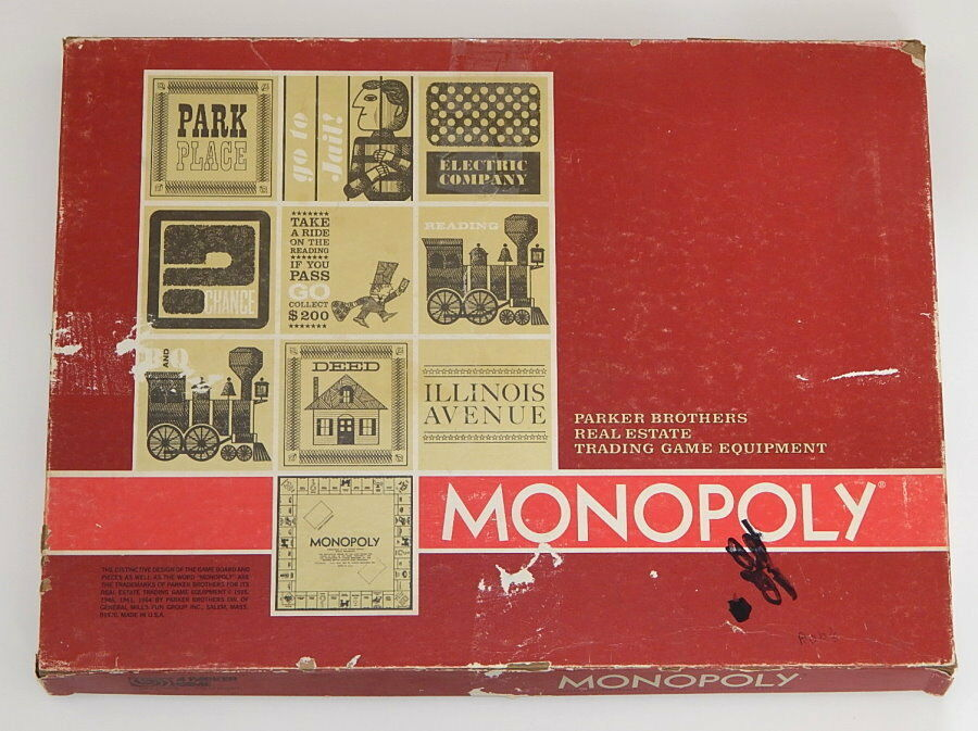 VINTAGE PARKER BROTHERS 1964 MONOPOLY BOARD GAME ROT BOX R8563
