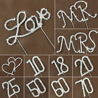 Diamante Rhinestone Gem Cake Pick Topper Birthday Letter Number Wedding Decor