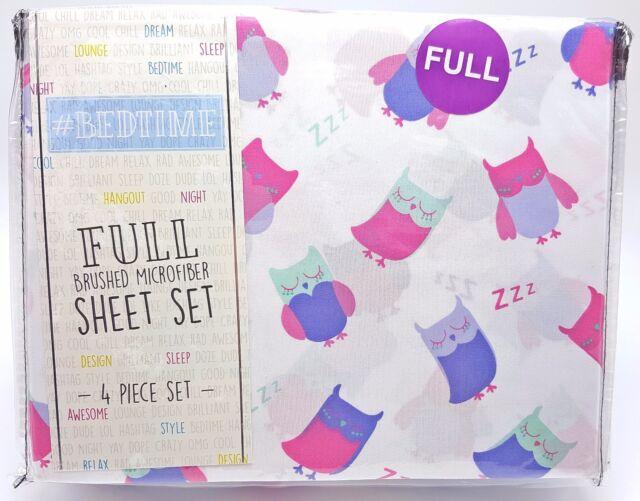 Girls Full Sheet Set Sleepy Owl Pink Purple 4pc New Soft Easy Care