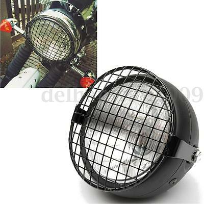 Retro Motorcycle Side Mount Grill Headlight 35W For Cafe Racer Bobber Old School