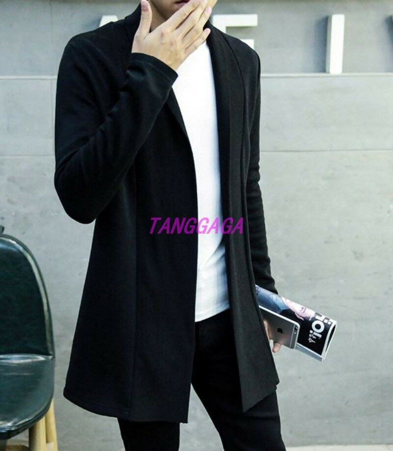 Spring Fashion Mens Casual Pure Cardigan Trench Coat Slim Coat Korean Outwear