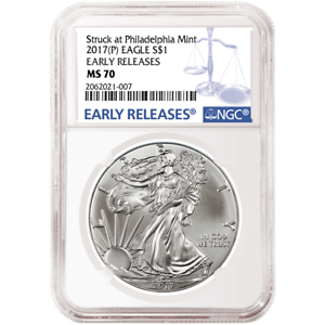 2017 $1 American Silver Eagle NGC MS70 Blue ER Label P