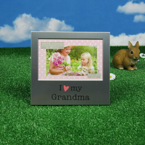 Cadeau Photo Frame je LOVE ma grand-mère Silver Red Heart présent