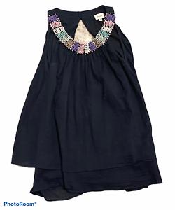 Woman's ELLA MOSS Black Tank Top Sleeveless Beaded Detail Size Medium M