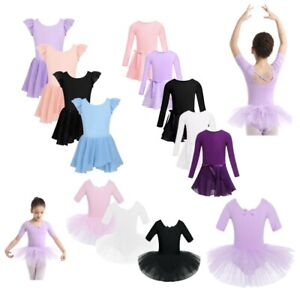 Kids-Glitters-Ballet-Dance-Dress-Girls-Gymnastics-Leotards-Tutu-Skirts-Dancwear