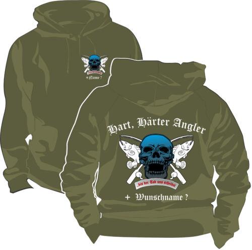 Angler Angeln Sweatshirt Kapuzenpullover Pullover Köder Wunschname Skull 242