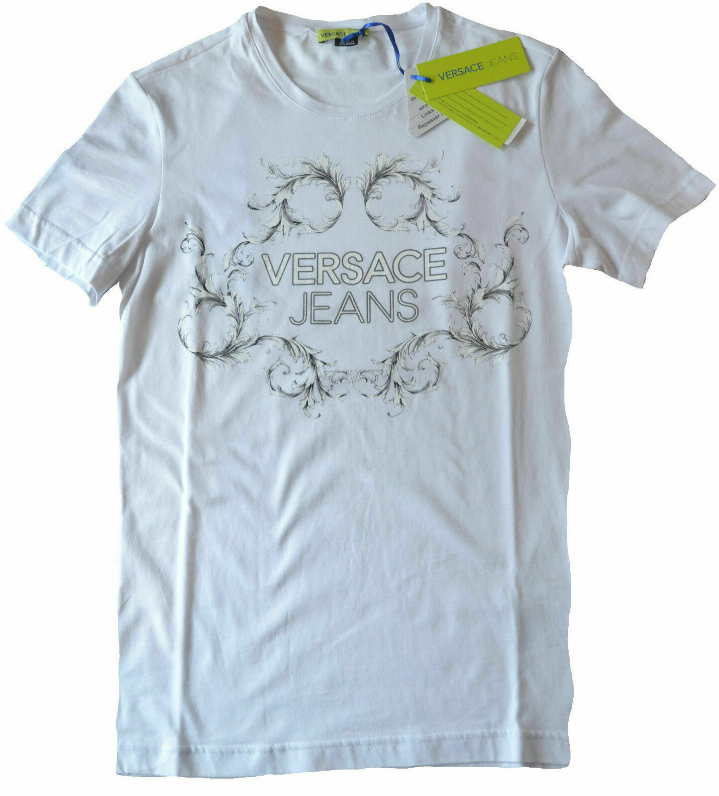 Neuf avec étiquettes Versace Jeans par Gianni Versace Slim Fit Logo Imprimé Graphique T-shirt Taille S Blanc