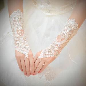 Brauthandschuhe-fingerlos-Braut-Handschuhe-Pailletten-Strass-Hochzeit-Weiss-Ivory