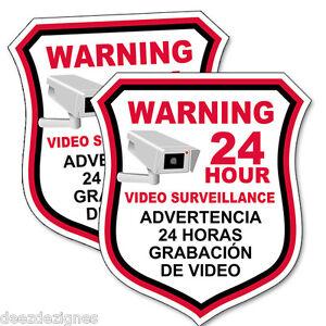 "5"" Multi-pack(2,4,6) SECURITY CAMERA Video English/Spanish Warning Decal Sticker"