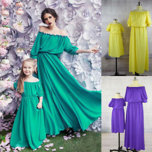 25a8ad46e Mother and Daughter Matching Off Shoulder Boho Long Mai Dress Mommy ...