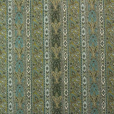 """P KAUFMANN OLD CITY MIMOSA BLUE GREEN PAISLEY BASKETWEAVE FABRIC BY YARD 54/""""W"""