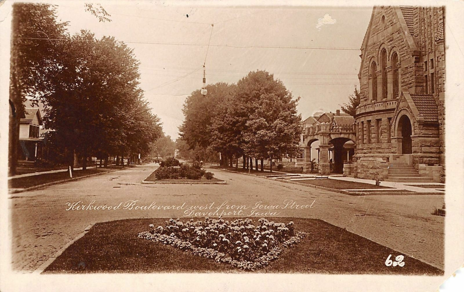 Davenport Iowa~1st Presbyterian~Kirkwood (Only Blvd in the Tri-Cities)~1921 RPPC