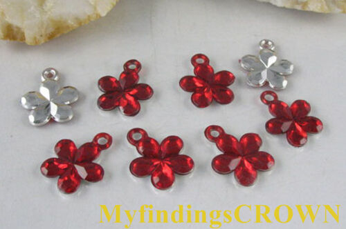 500 pcs Red flower acrylic charms W1756