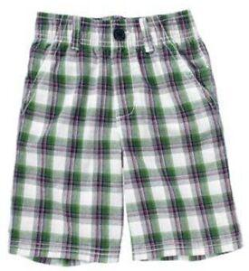 NWT-Gymboree-Golf-Pro-5-5T-Plaid-Shorts-Green-Navy-Blue-White-Boys-Elastic-Waist