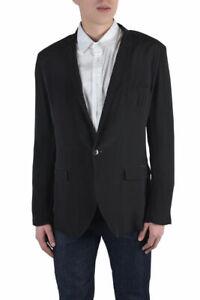 Dolce-amp-Gabbana-Men-039-s-Black-100-Silk-One-Button-Blazer-Size-US-36-38-40-42-44