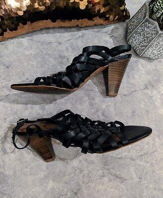 ZARA WOMAN 39 8 leather black STRAPPY high heel sandals shoe $149   eBay
