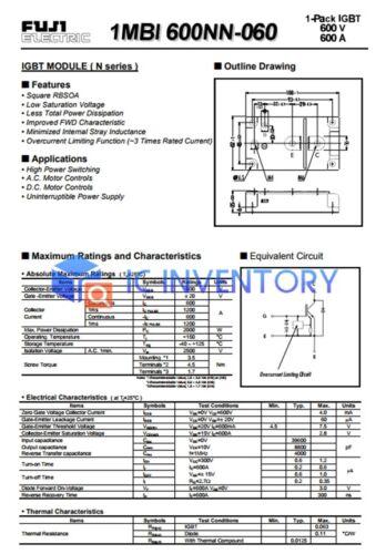 1PCS FUJI 1MBI600NN-060 Module Power Supply New 100/% Quality Guarantee