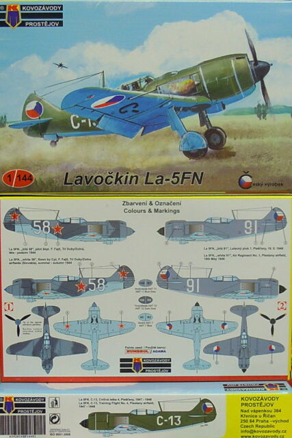 Avion Lavotchkine La-5FN, Kovozavody Prostejov, 1:144, Modèle en Plastique, Neu