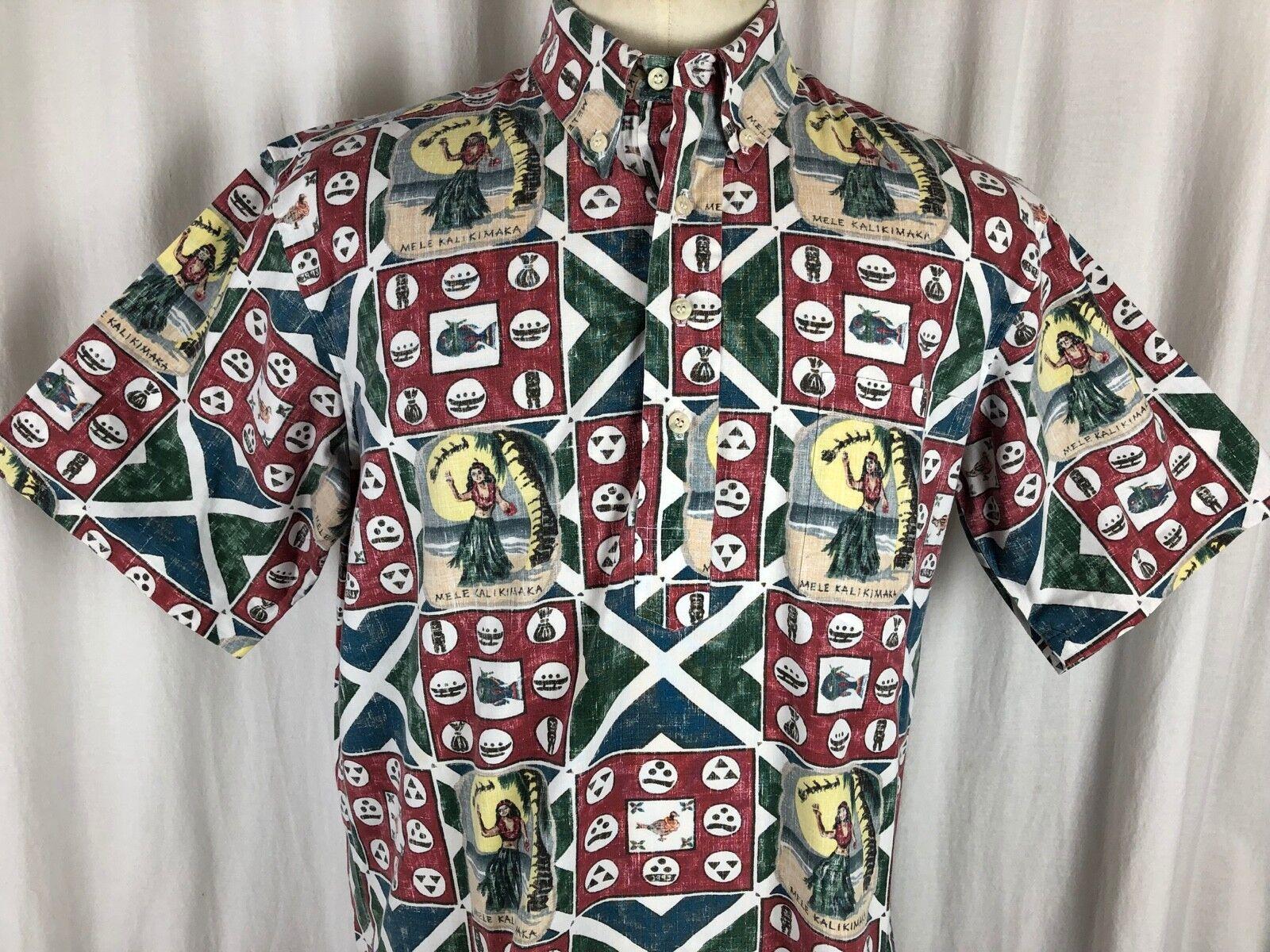 Reyn Spooner 1993 Mele Kalikimaka Christmas Shirt Size Large L Santa Holiday