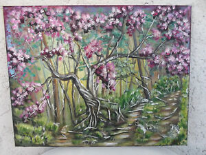 Original-Acrylic-Painting-14-X-18-Stretched-Canvas-034-Cherry-Blossom-034-Art-Decor