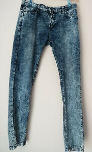 STEVE-039-S-JEANS-Distress-Distressed-Acid-Washed-Slim-Straight-Denim-Jeans-36X32