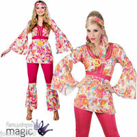 60s 70s GROOVY HIPPIE HONEY CHICK HIPPY LADY 1960s RETRO FANCY DRESS COSTUME