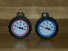 """2 St. Set Kugelhahn 1"""" IGxIG mit Thermometerhandrad rot und blau"""