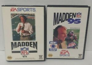 Madden 94 + 95 NFL Football  Sega Genesis Working + Tested 2 Game Lot