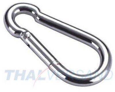 2 x FEUERWEHR KARABINERHAKEN 160 x 13mm Karabiner Stahl verzinkt Seil DIN 5299 C