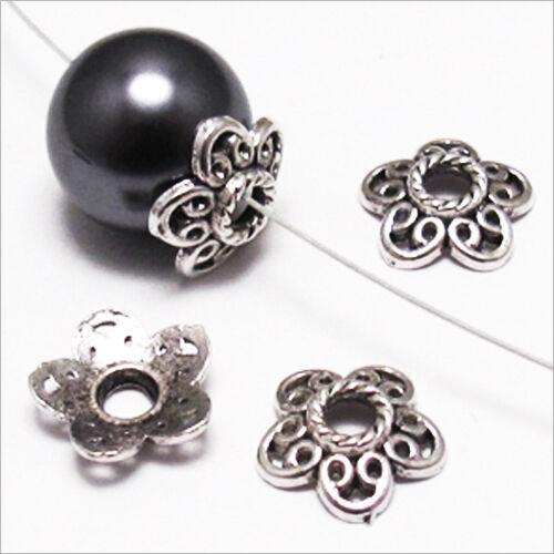 Trous 3mm Lot 20 Calottes pour bijoux Fleurs Métal style Tibétain 12 x 3 mm