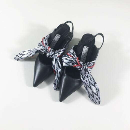 Fashion Donna  scarpe scarpe scarpe Pointy Toe Leather Sandals Strappy Bowknot High Block Heel 04d585