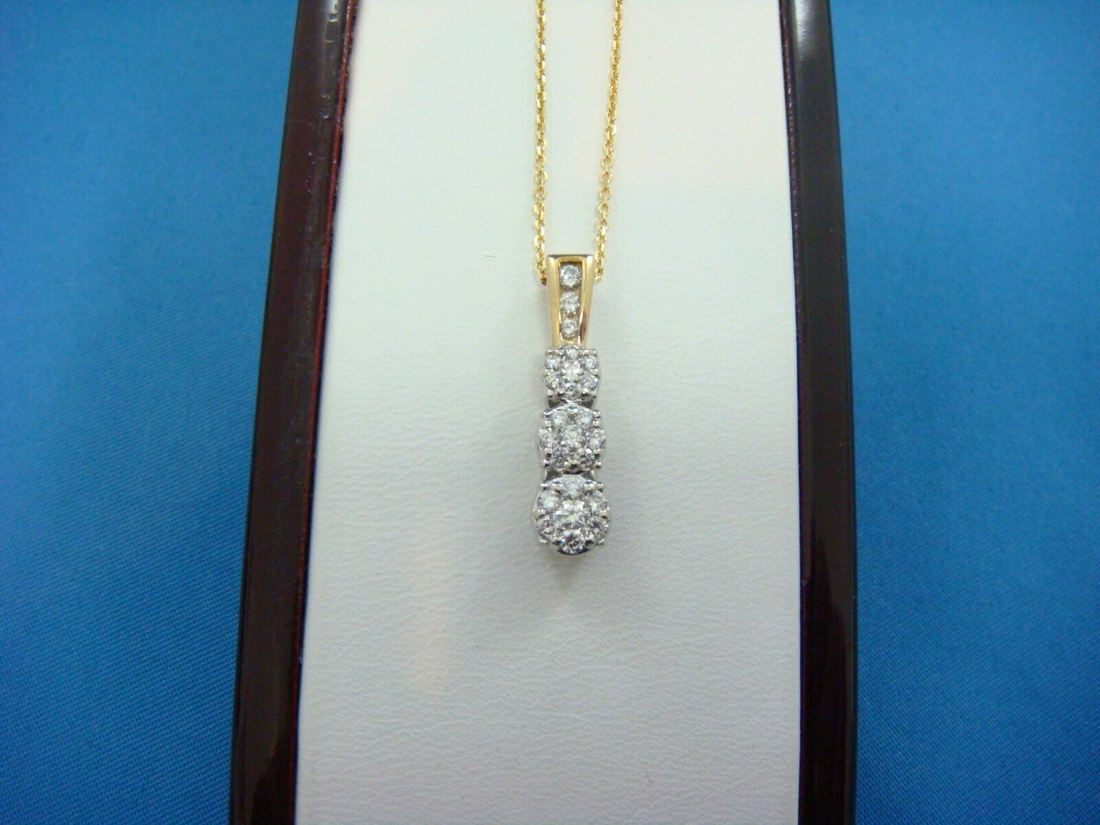 14K 2 TONE gold 0.75 CTT.W. PAST, PRESENT, FUTURE FLOWER DESIGN DIAMOND PENDANT