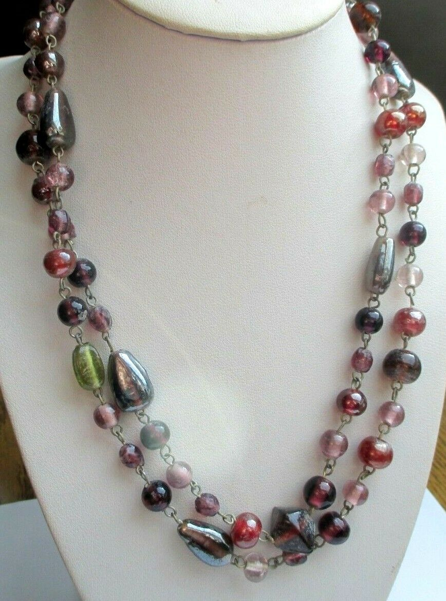 Maravilloso Grande de Collar color silver Cuentas Multicolor brown Joya Vintage