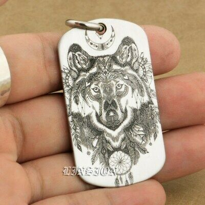 LINSION American Wolf Necklace Dogtag Pendant High Detail Engraved Mens Biker Rock 9X111