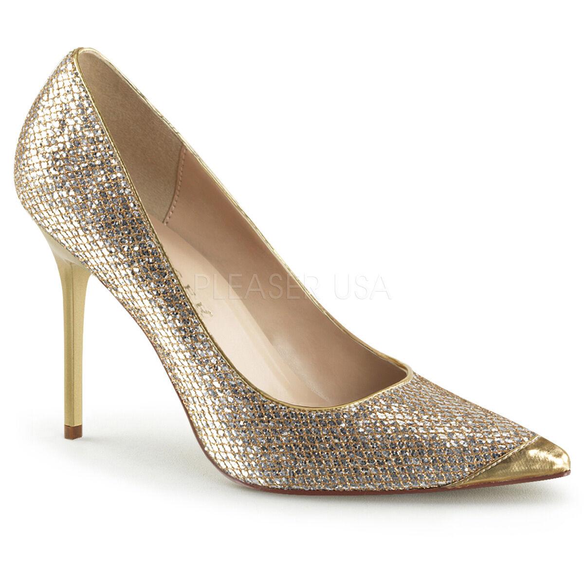 PLEASER CLASSIQUE-20 GOLD GOLD CLASSIQUE-20 GLITTER CLASSIC LADIES DRAG QUEEN COURT Schuhe 4e9a34
