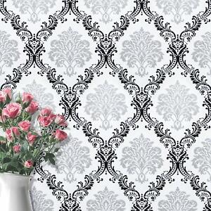 Gray Black Peel And Stick Wallpaper Removable Damask Flower Contact Paper Decor Ebay
