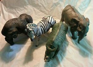 ERTL Large Afican Animal Figures. Gorilla, Elephant, Zebra, & Rhino