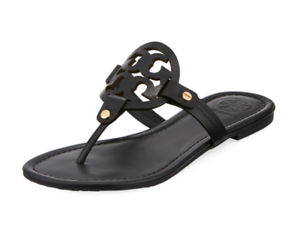 3796d8f70d84 Tory Burch NEW Miller Black Leather Flat Sandals Double T Logo Runs ...